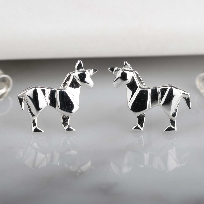 Photo of Stunning Silver Origami Unicorn Earrings