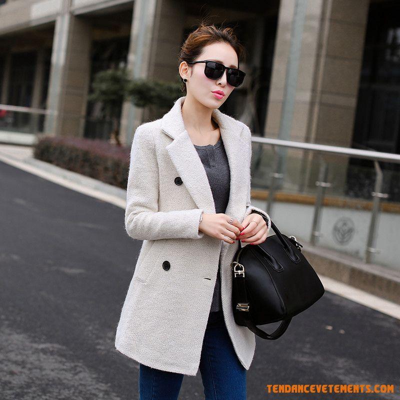 femme manteau automne hiver de laine crois manteau gris. Black Bedroom Furniture Sets. Home Design Ideas