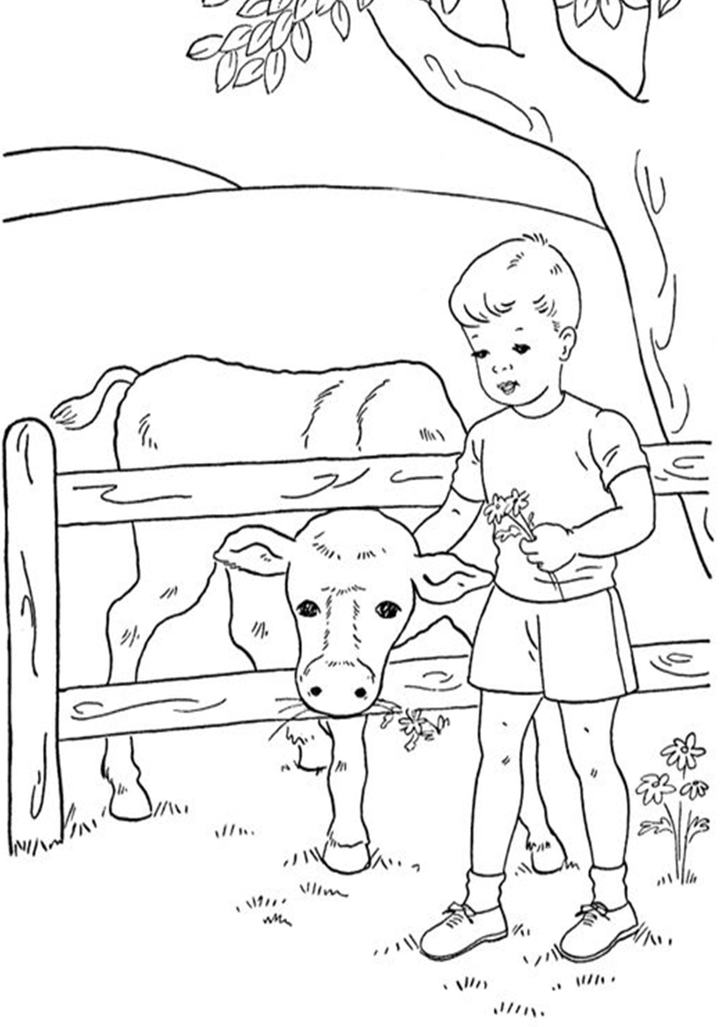 Free & Easy To Print Farm Coloring Pages in 2020 Cow