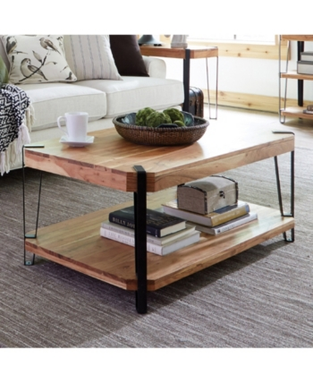 Alaterre Furniture Ryegate Natural Live Edge Solid Wood With Metal