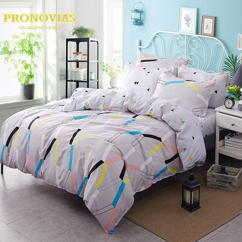 Night Tender Flash Light Nordic Bedding Set King Queen Double Single Size  Bed Linen Set #