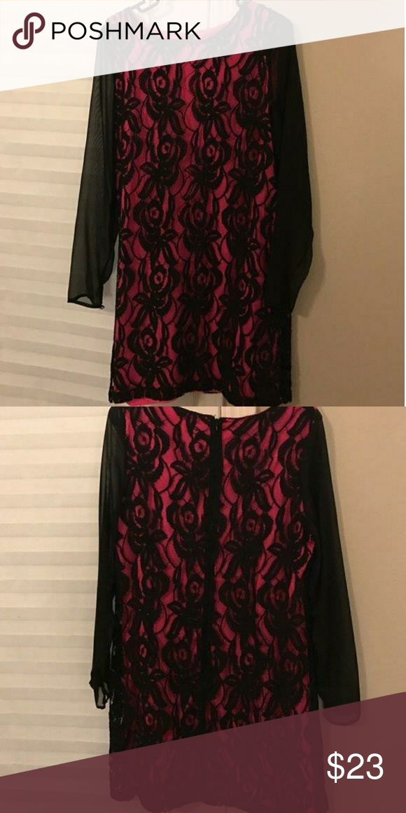Hot Pink Black Lace Dress Sz 14 In 2018 My Posh Picks