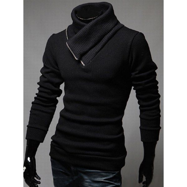Trendy Slimming Long Sleeves Turtleneck Zipper Embellished Solid ...