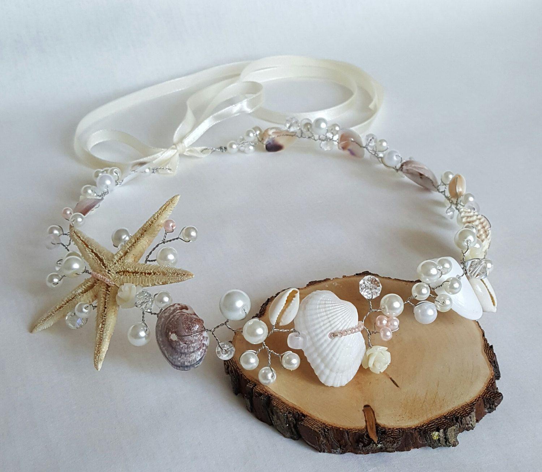 Beach Bridal Tiara,Wedding SeaShell Headpiece,Seashell Crown,Wedding Accessories,Mermaid Hair,Starfish Bridal Hair handmade by CyShell