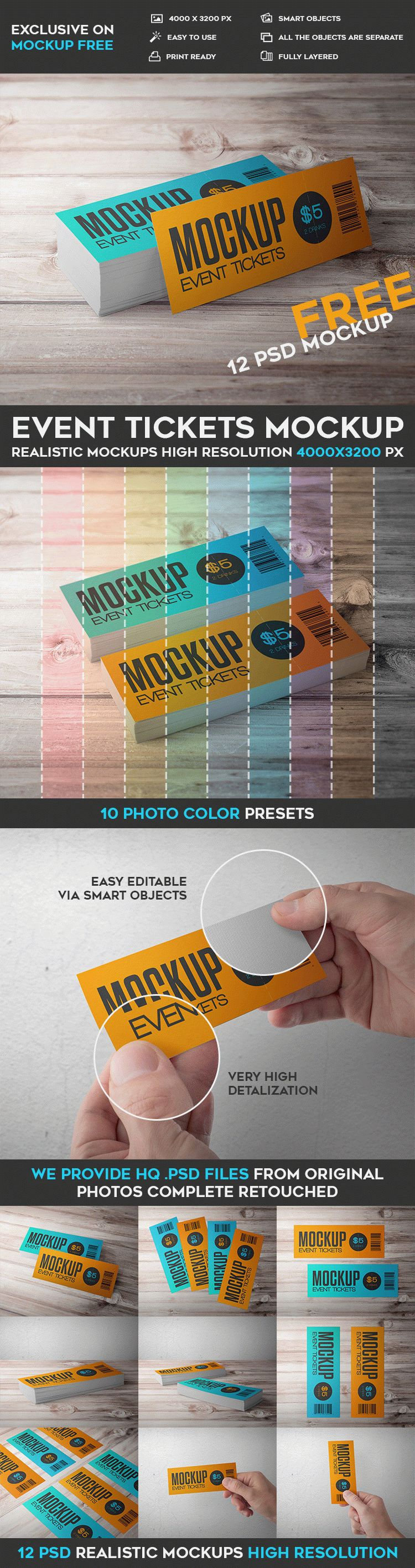 12 Free Event Tickets PSD Mockups | Free PSD Templates | #free ...