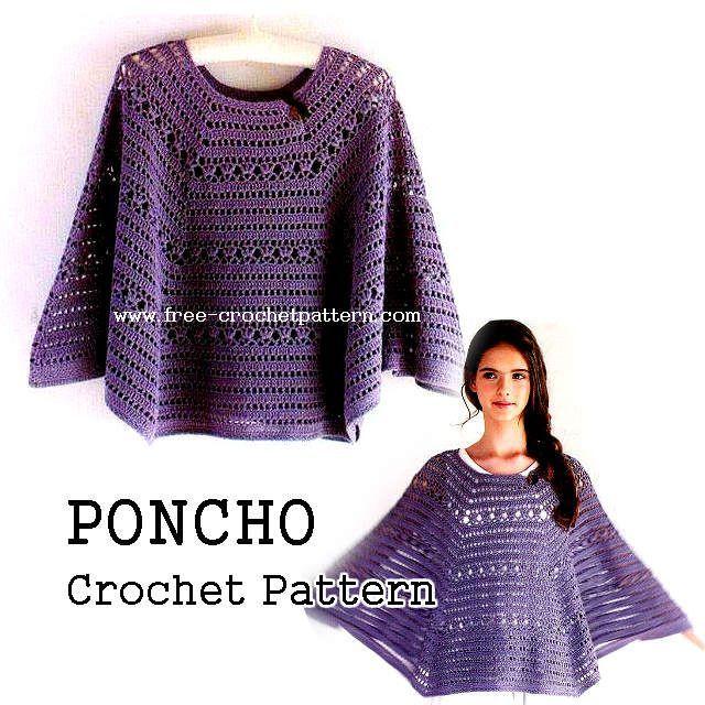 Free Crochet Patterns: Crochet Poncho Pattern … | Pinteres…