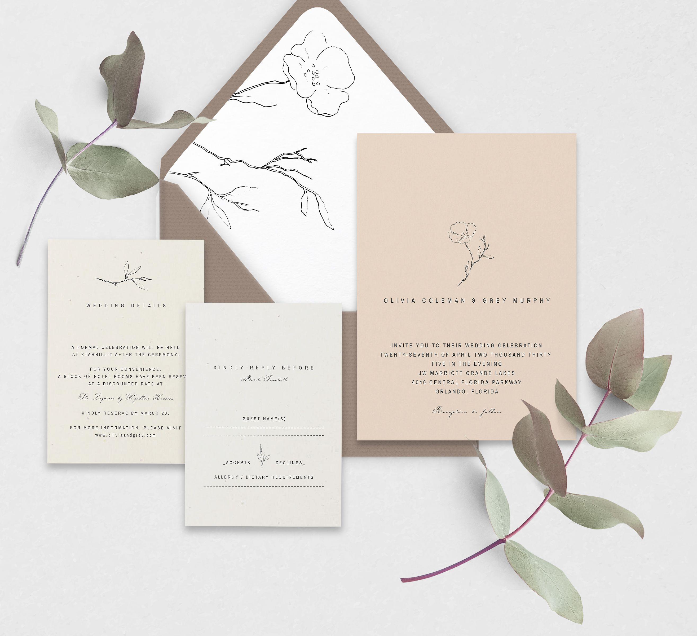 Details Printable Invitation RSVP Minimalist Wedding Suite