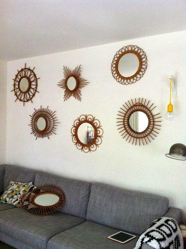 Plouf Plouf Lovely Vintage Miroir En Rotin Decoration Murale Miroir Deco D Interieur Bon Marche