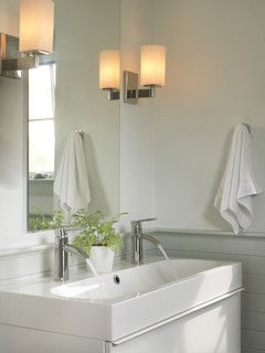 Two Faucets On One Sink Modern Bathroom Trough