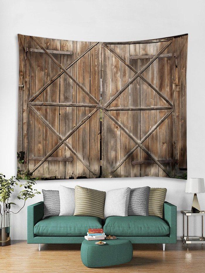 Wooden Door Pattern Tapestry Wall Hanging Decor Wooden