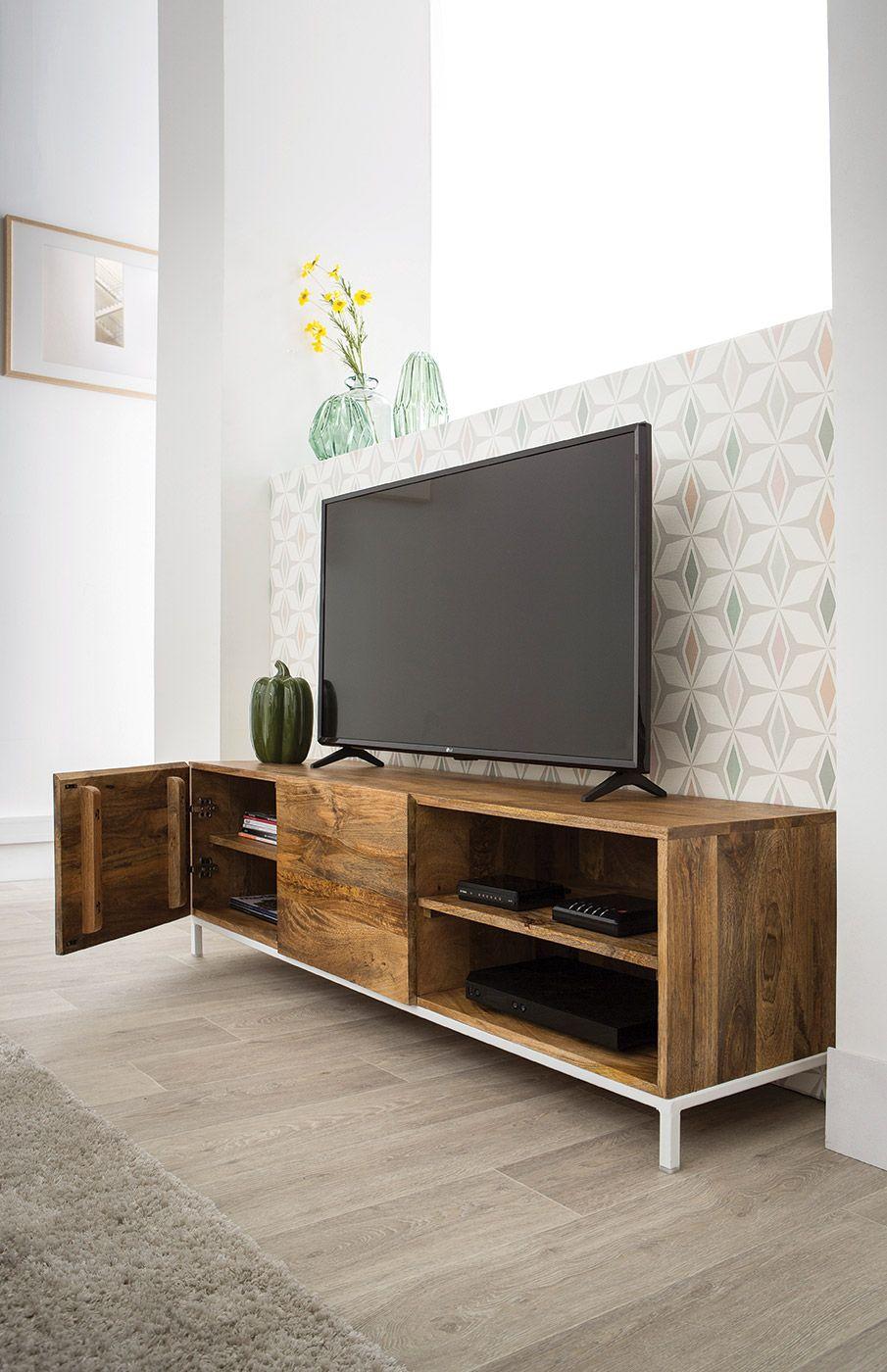 Meuble Tv Design Manguier Massif Et Metal Blanc 145cm Boho Miliboo Meuble Tv Design Idee De Decoration Decoration Maison