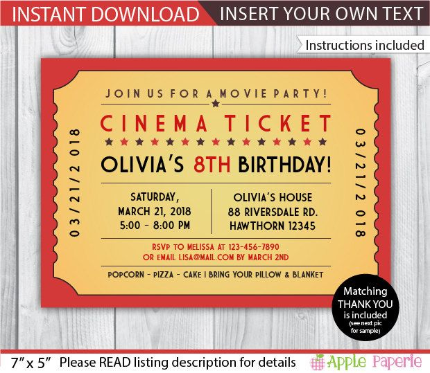 movie birthday movie birthday invitation printable movie invitations movie invite movie invitation movie ticket invitation instant by tinyconfetti