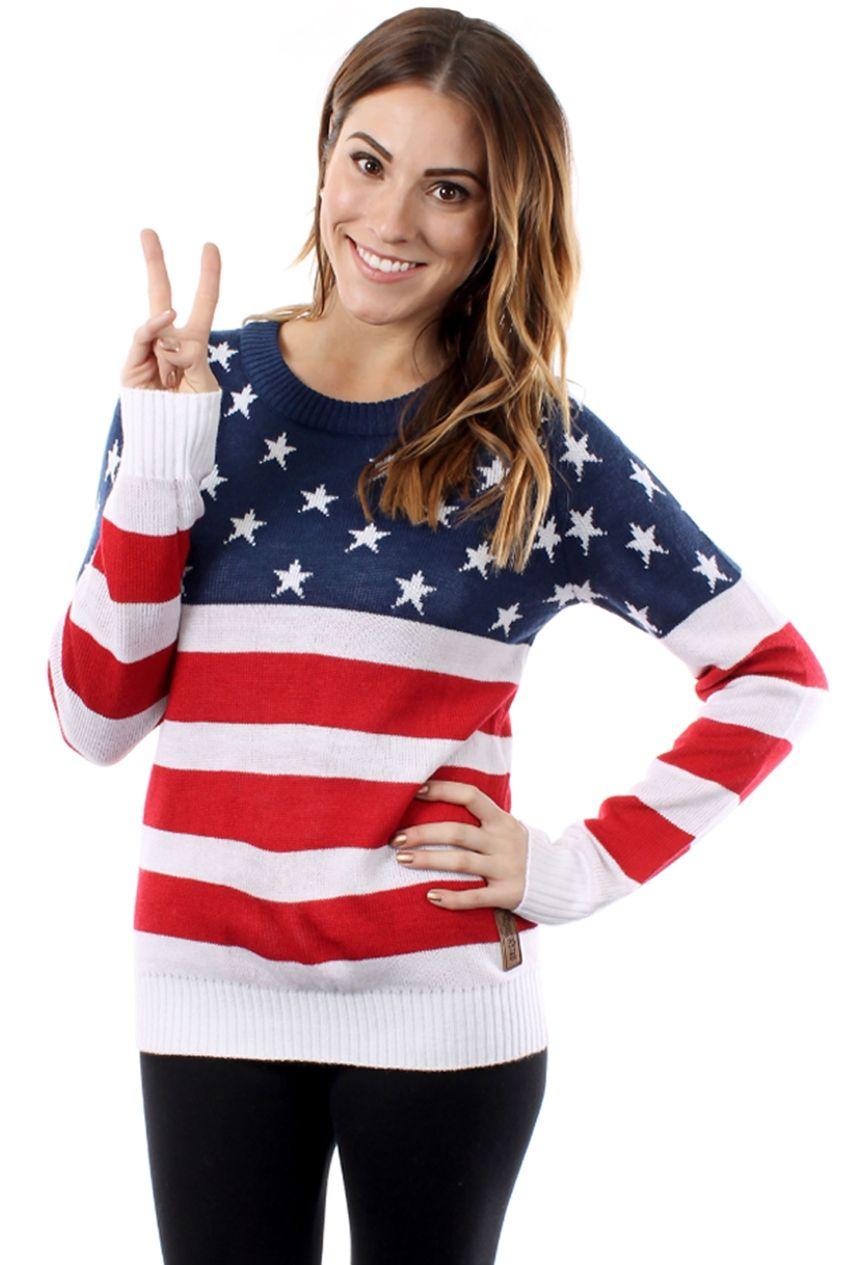 Women's American Flag Sweater | American flag sweater, Casual wear ...