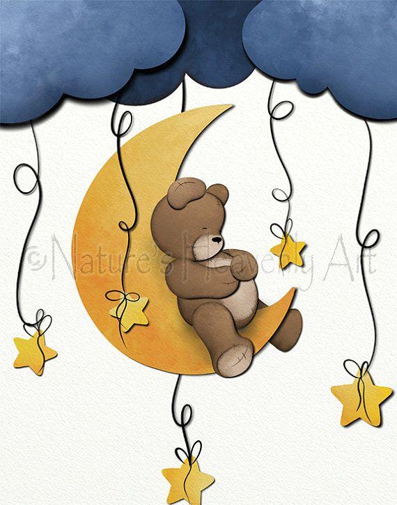 Moon and Stars Decor for Nursery, Teddy Bear Wall Art, Boys Room Art Print