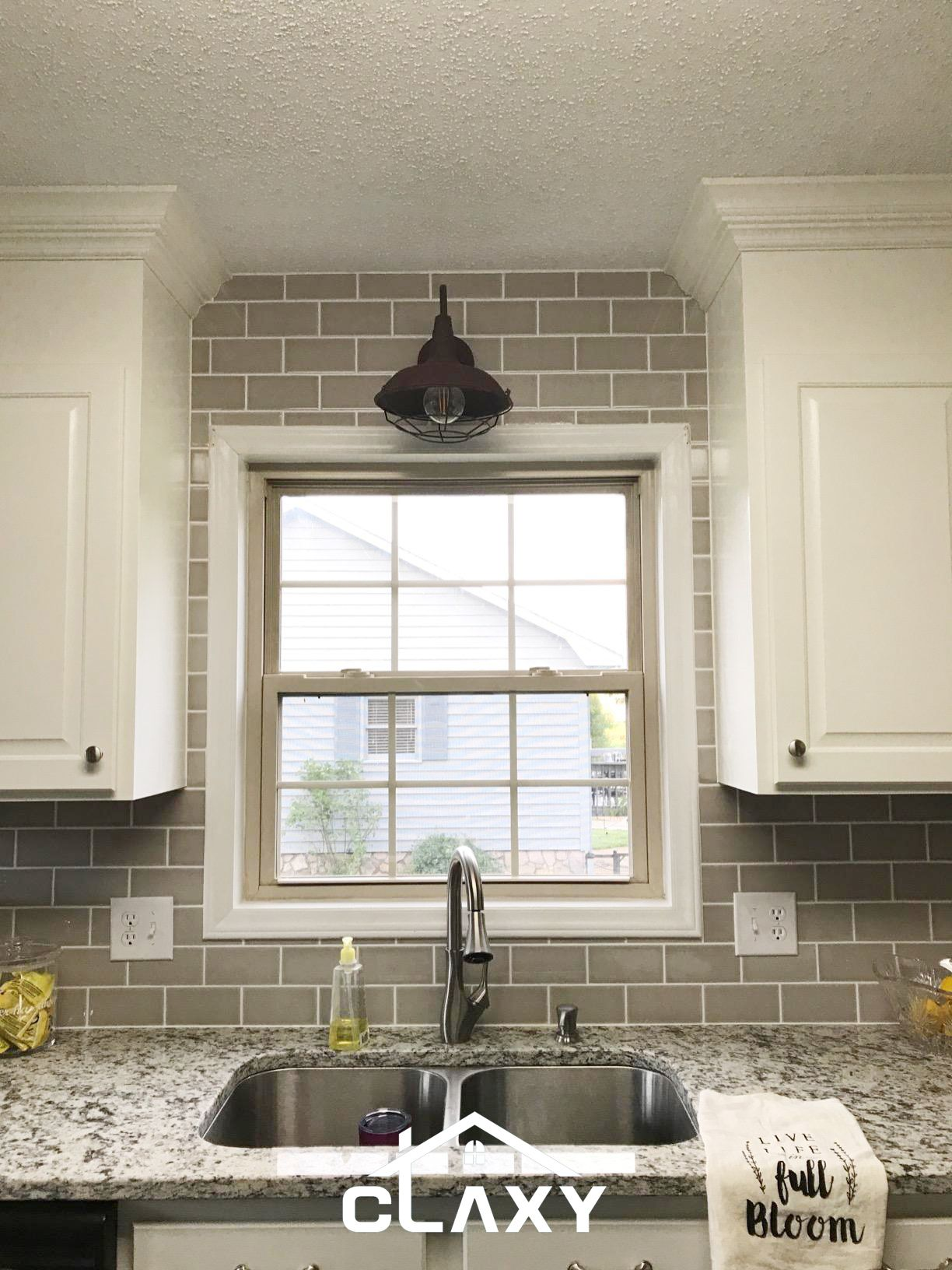 A Rusted Finished Barn Wall Sconce For A White Kitchen Over The Sink Rustic Kitchen Design Kitchen Sink Lighting Rustic Kitchen