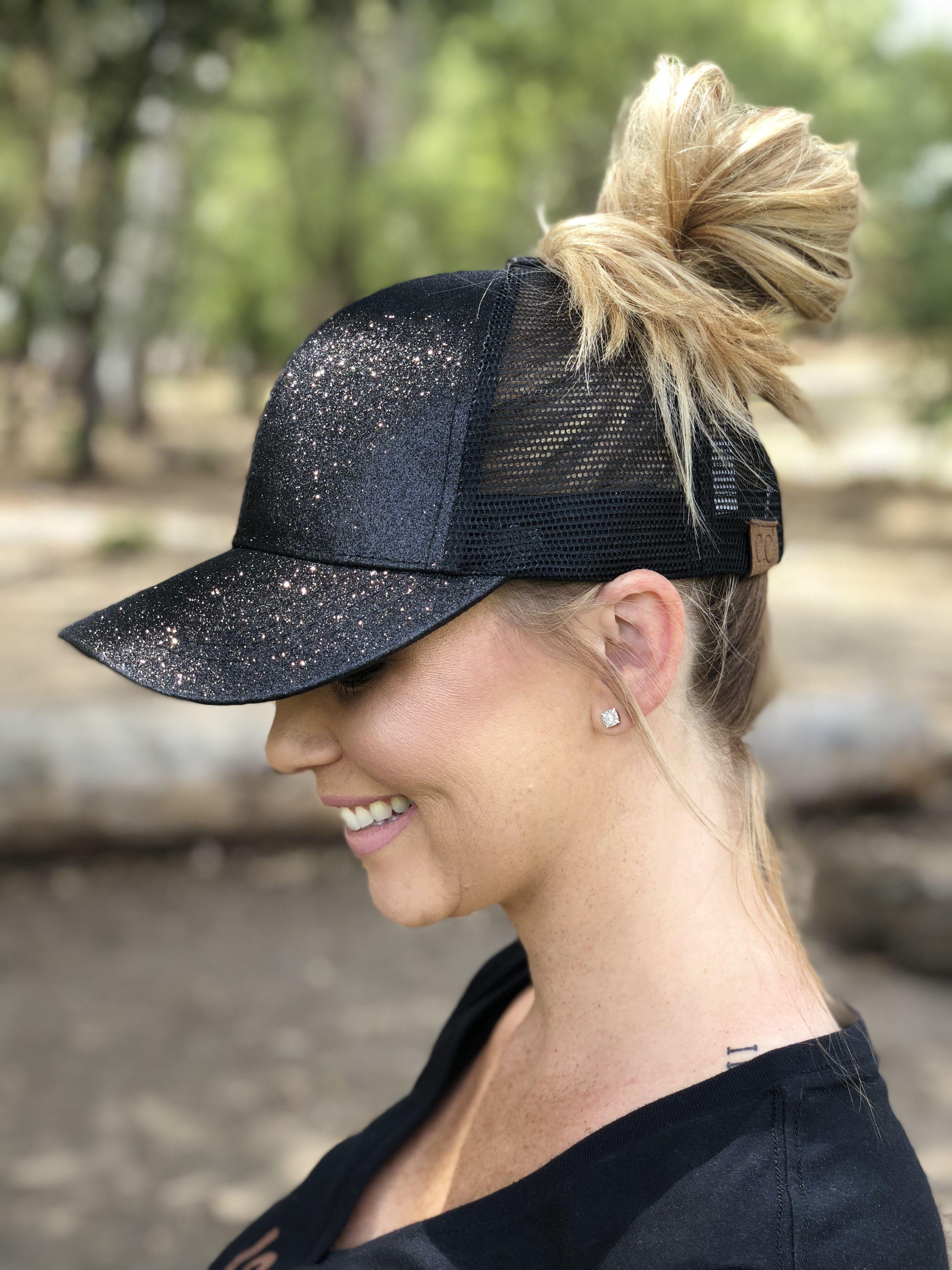 0598ed83 Glitter ponytail hat. Baseball cap. Glitter hat. High Ponytails, Cute  Ponytails,