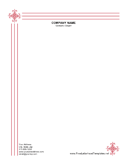 printable letterhead that looks engraved with thin red lines and