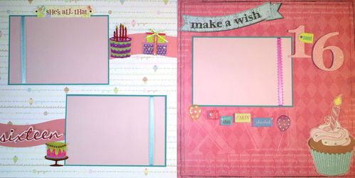 Sweet 16 sixteen birthday premade scrapbook pages layout stickers free shipping ebay