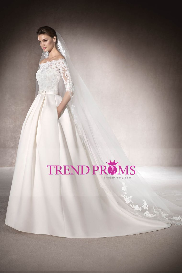2017 Satin Boat Neck Mid-Length Sleeves Wedding Dresses With ...