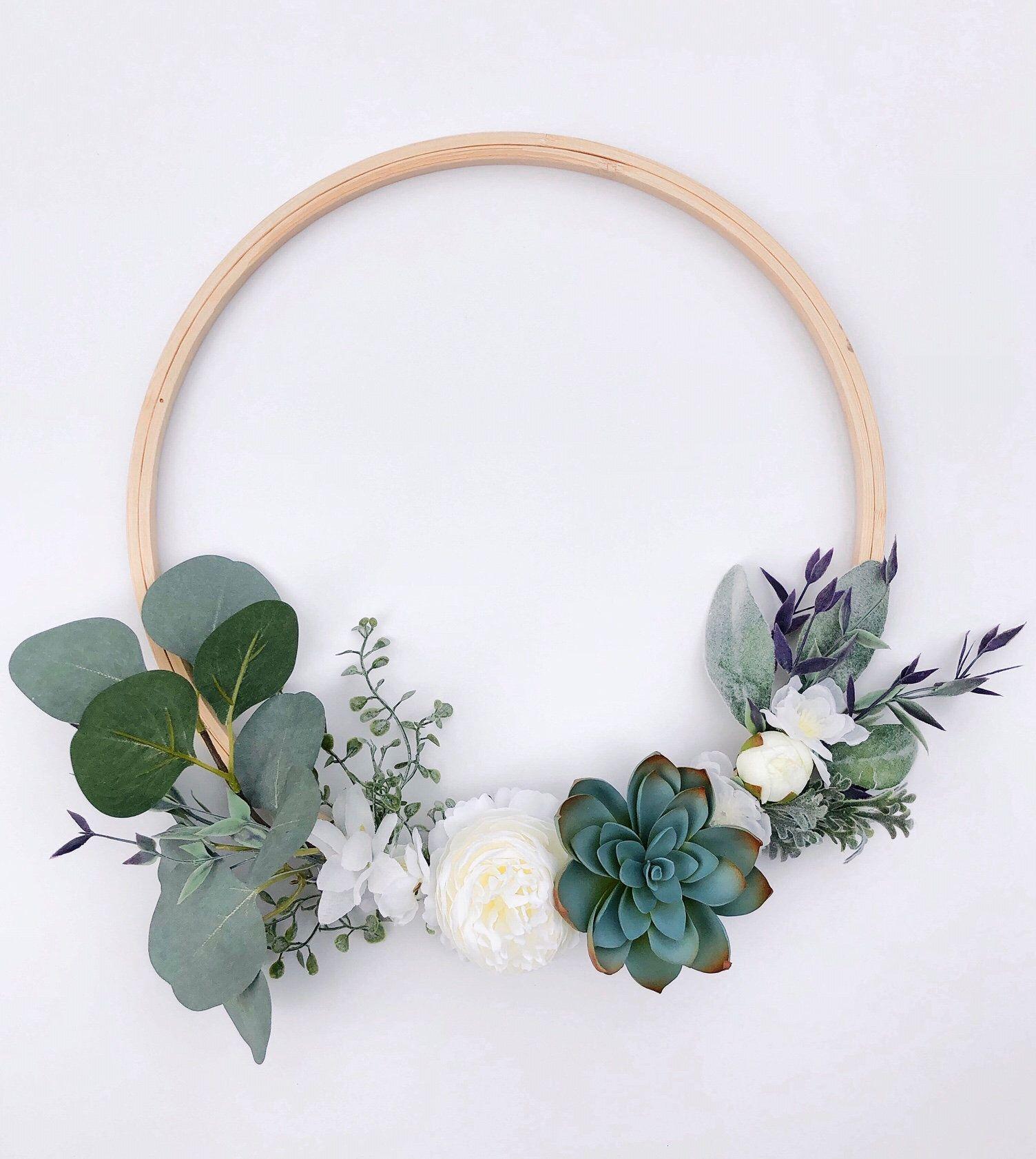 Photo of Succulent hoop wreath, Succulent Wreath, Green, purple and white spring wreath, Minimal hoop wreath, Boho wedding hoop bouquet