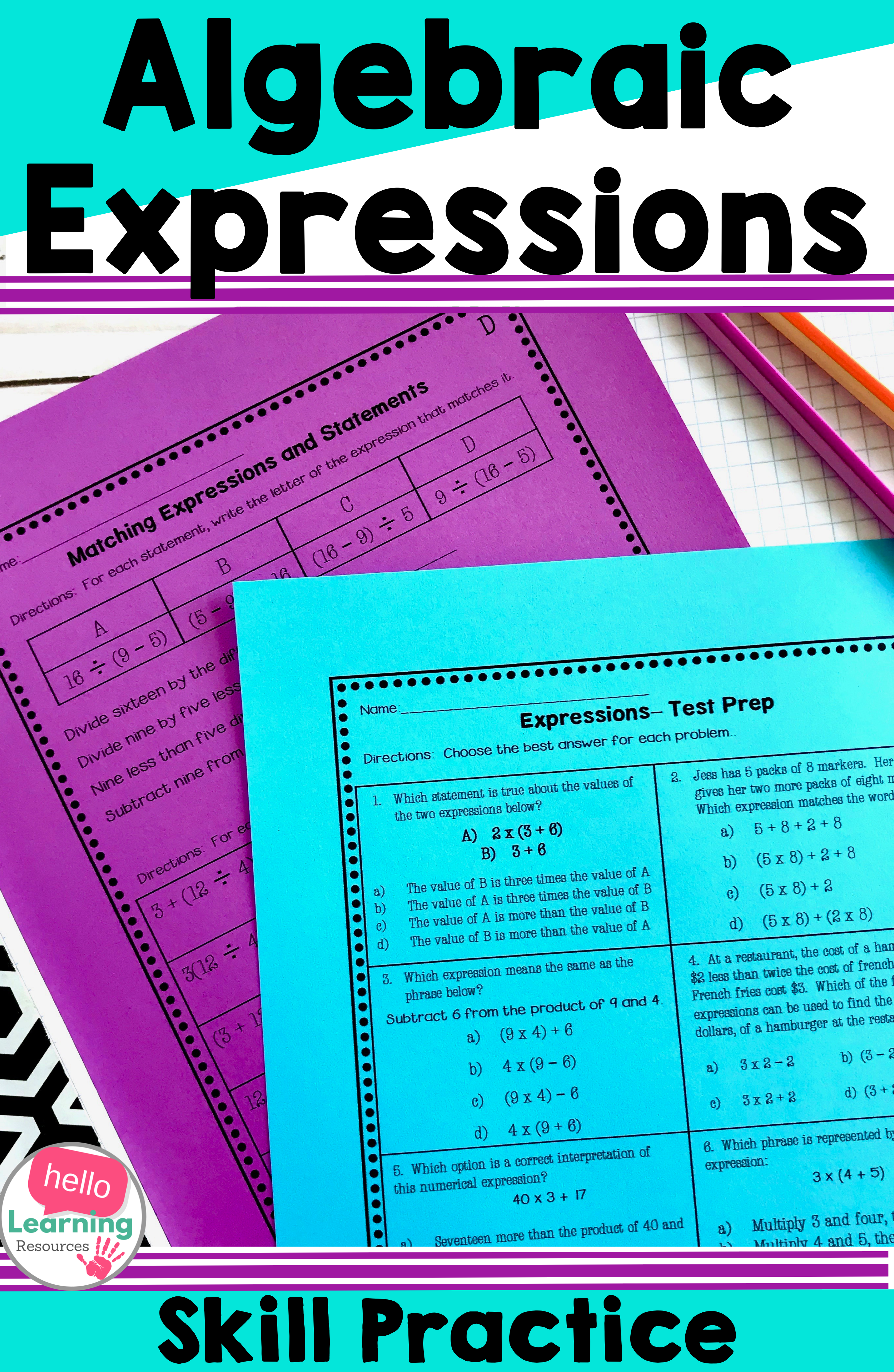 Numerical Expressions Worksheets Algebraic Expressions Math Expressions Numerical Expression [ 4463 x 2909 Pixel ]