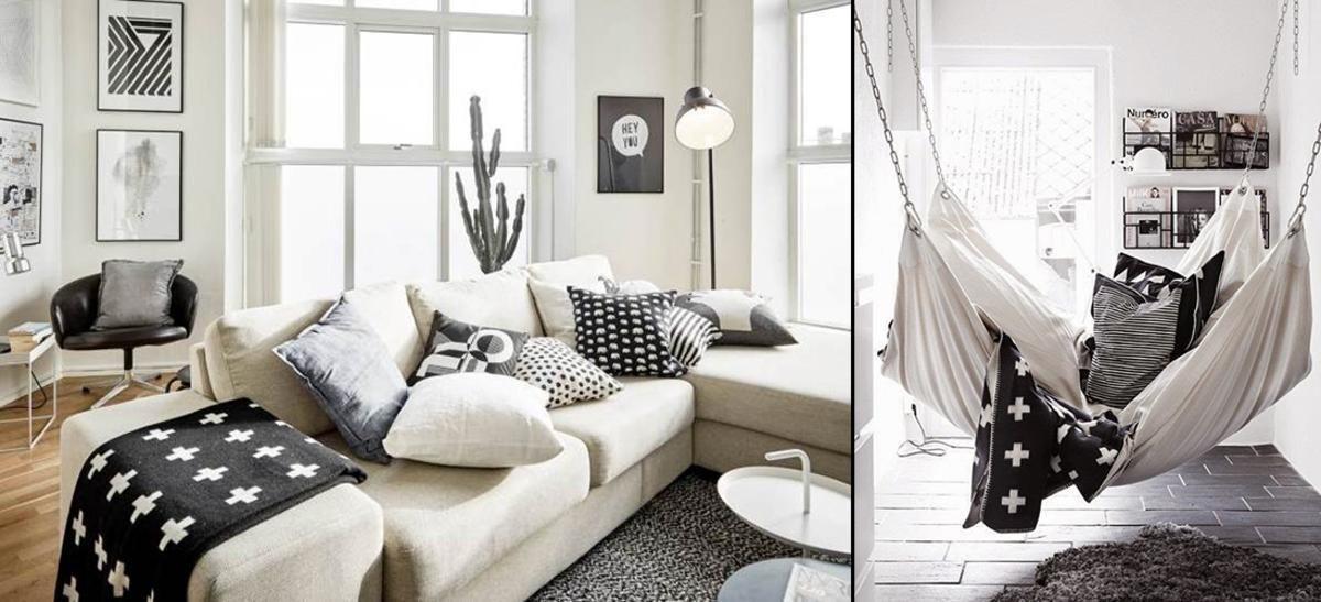 Zwart wit interieur woonkamer met Cross deken Pia Wallen ...