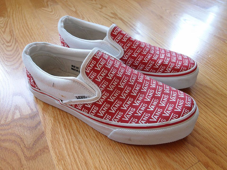 287e7b819d Vintage Vans Slip On Shoes Red Sneakers Van Doren Made in USA