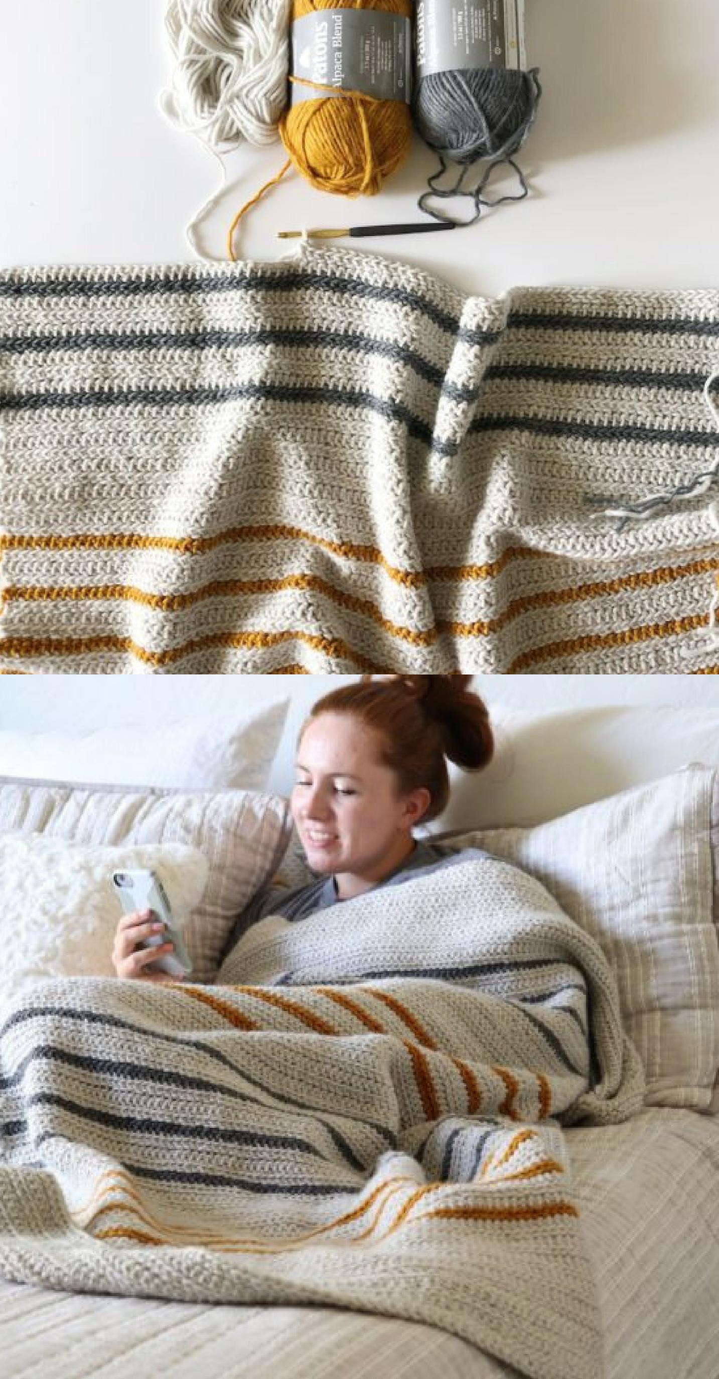 Free Pattern - Crochet Herringbone Half Throw
