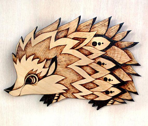 Hedgehog Wood Wall Hanging, Pyrography, Wood burning, hedgehog gift, hedgehog decor, hedgehog art, woodland decor, childrens room, animal