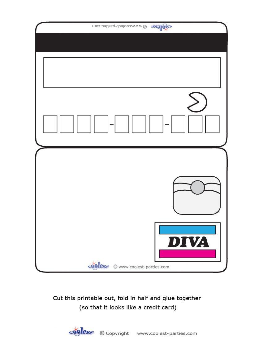 Blank Printable Diva Credit Card Invitations Coolest Free