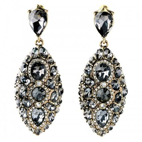 New Fashion Luxury Brand Black Crystal Geometric Gem Designer Vintage Earrings For Women Free Shipping