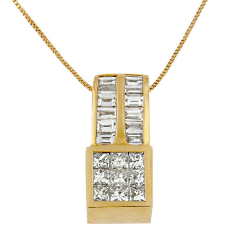 14k Yellow Gold 1 1/4ct TDW Princess and Baguette-cut Geometric Inspired Diamond Pendant