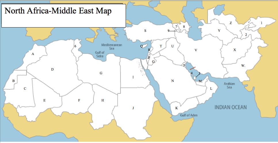 Middle East And North Africa Map Quiz Pin on Middle East Class