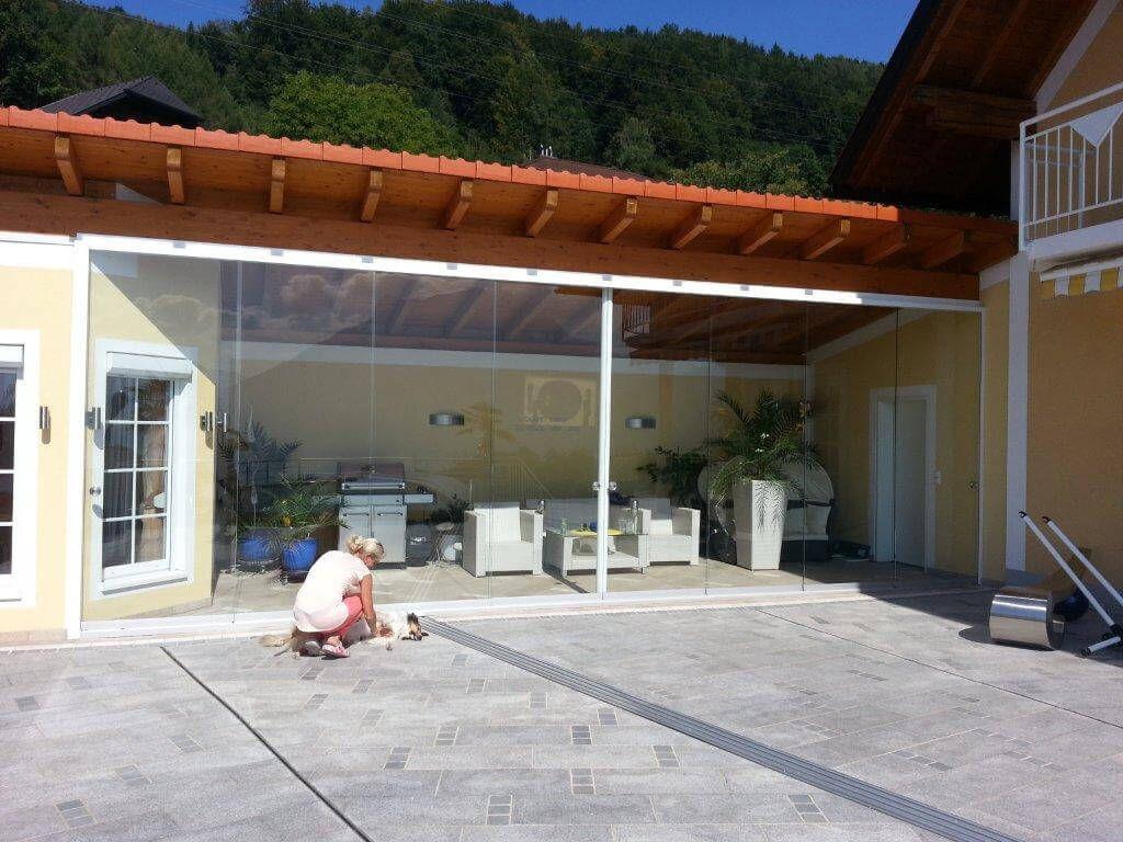 Glaswand für Terrasse Windschutz