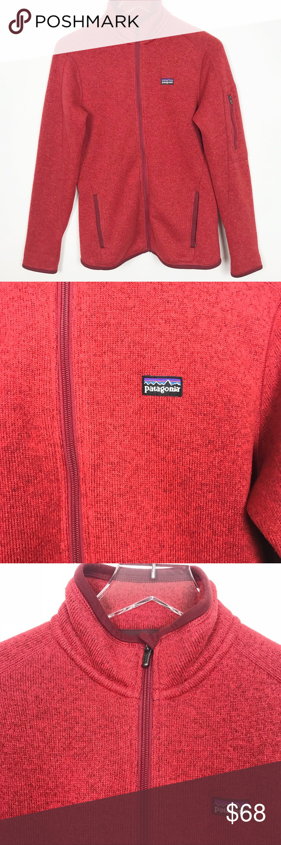 Patagonia sweater better red zip up jacket my posh closet