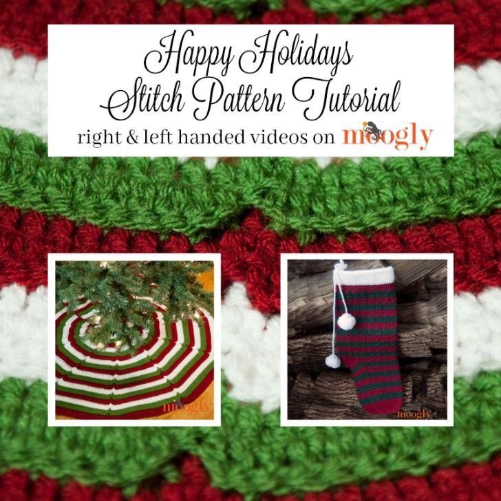 Happy Holidays Tree Skirt & Stocking Tutorial (moogly) | Häkeln und ...