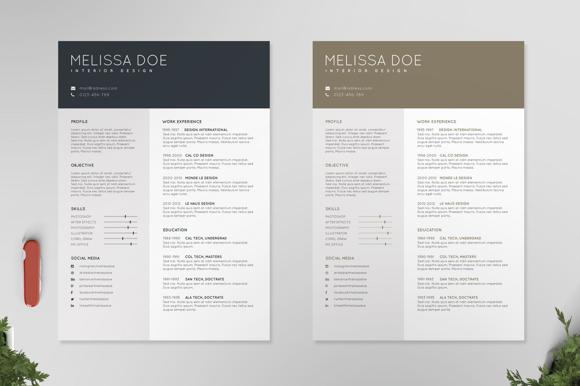 Resume/CV Template IV by Print Forge on Creative Market | Resume ...