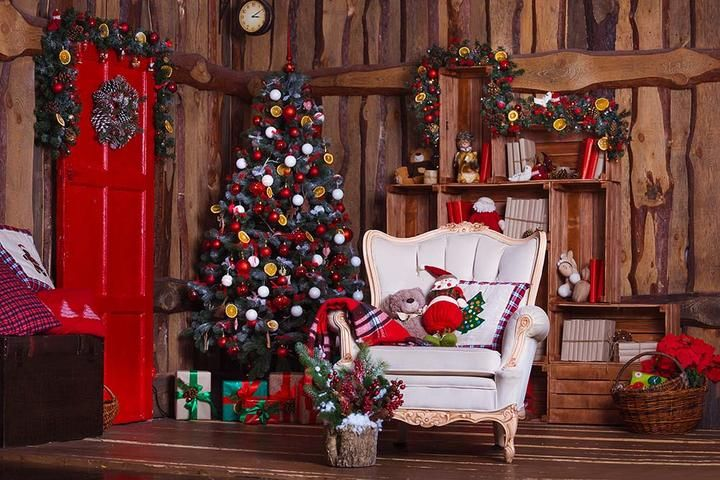 Decorated Christmas Room With White Chair Photography Backdrop N 0019 Christmas Backdrops Christmas Room Christmas Interiors