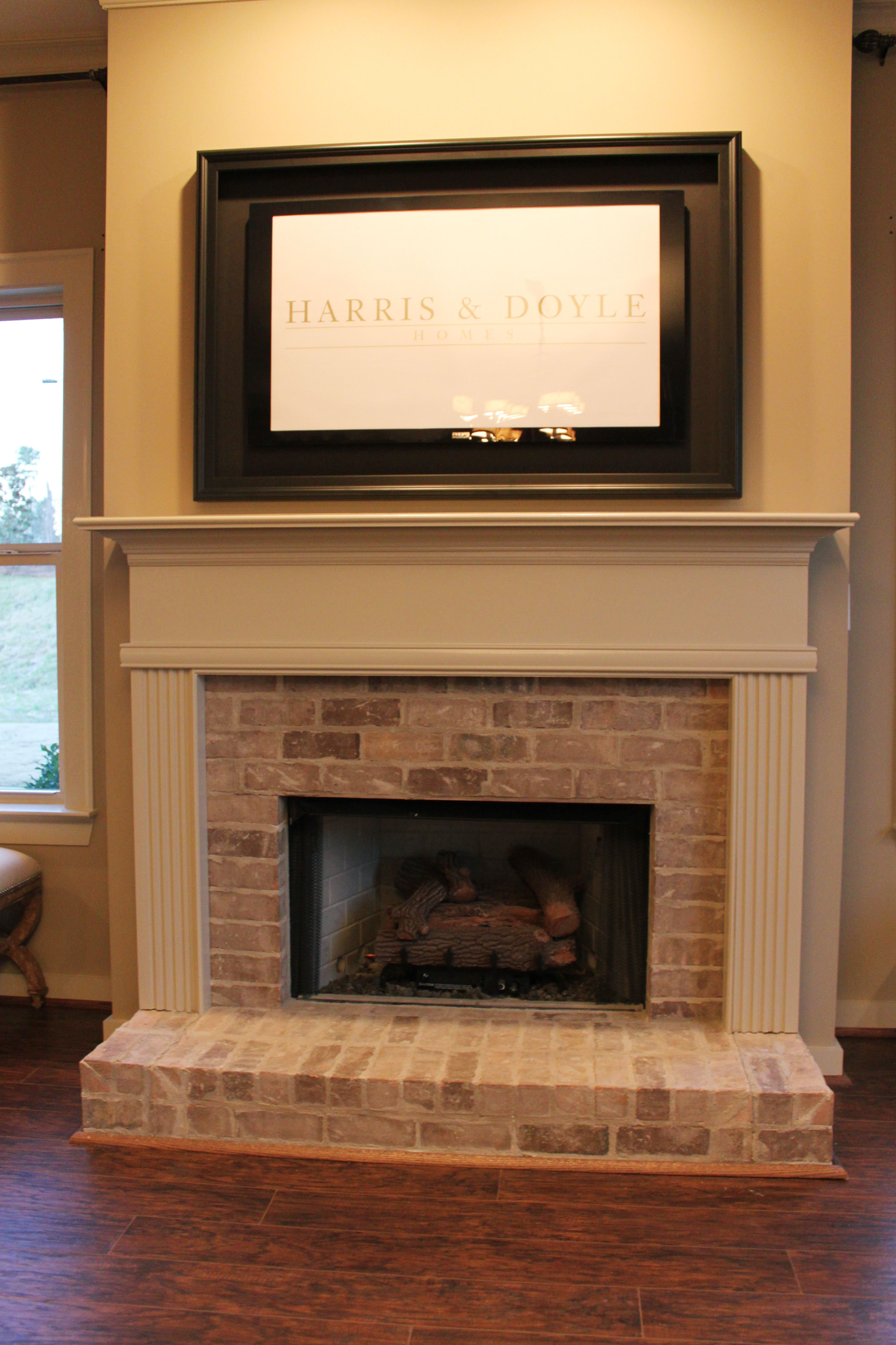 Half Brick Fireplace Surround With Elevated Hearth Brick