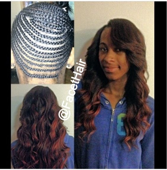 Full Head Sew In Weave With Edges And Part Left Out Weave Hairstyles
