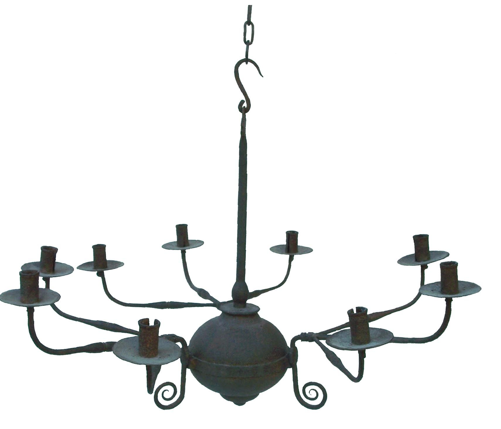 18th century hand forged Chandelier from a private collection in