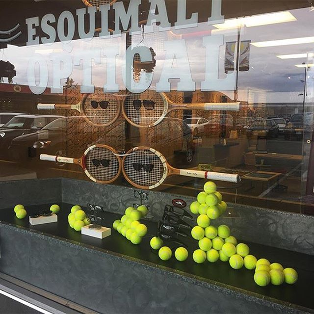WEBSTA @ esquimaltoptical - We are ready to bounce into Summer! Check out our awesome new window display makes us want to grab our shades and play a little tennis! #windowdisplay #tennis #tennisanyone #windowdisplaydesign #art #opticalshop #opticalboutique #glasses #eyewear #eyewearlover #eyeweartrends #glasses #sunglasses #youronestopshop #esquimaltoptical #esquimalt #localshop #yyj #yyjbusiness