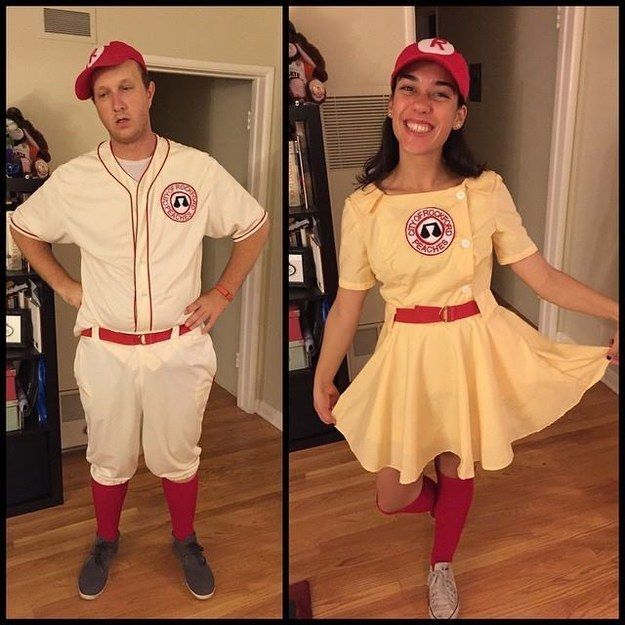 jimmy dugan and all the way mae from a league of their own 27 insanely creative halloween costumes every movie lover will want