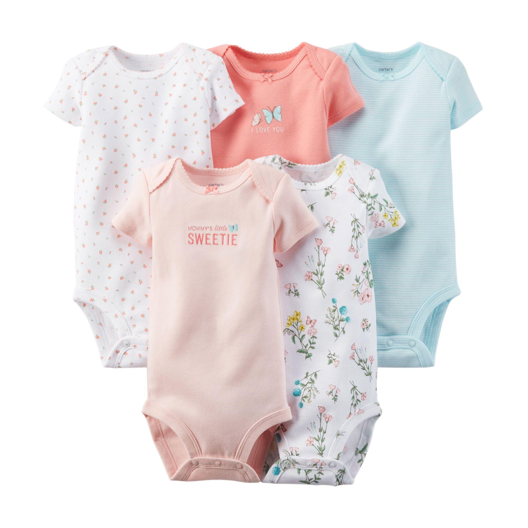 baa456601 5-Pack Short-Sleeve Bodysuits   L i t t l e • g i r l   Newborn boy ...