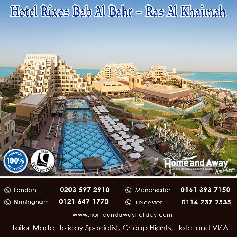 This Upscale Beachfront Resort in Ras Al Khaimah is located on the pristine white sands of Marjan Island overlooking the Arabian Sea. Reserve your stay at this resort only with Home and Away Holidays with Price Fr £820 pp for 7 Nights on All Inclusive basis with Flight. http://bit.ly/RixosBab