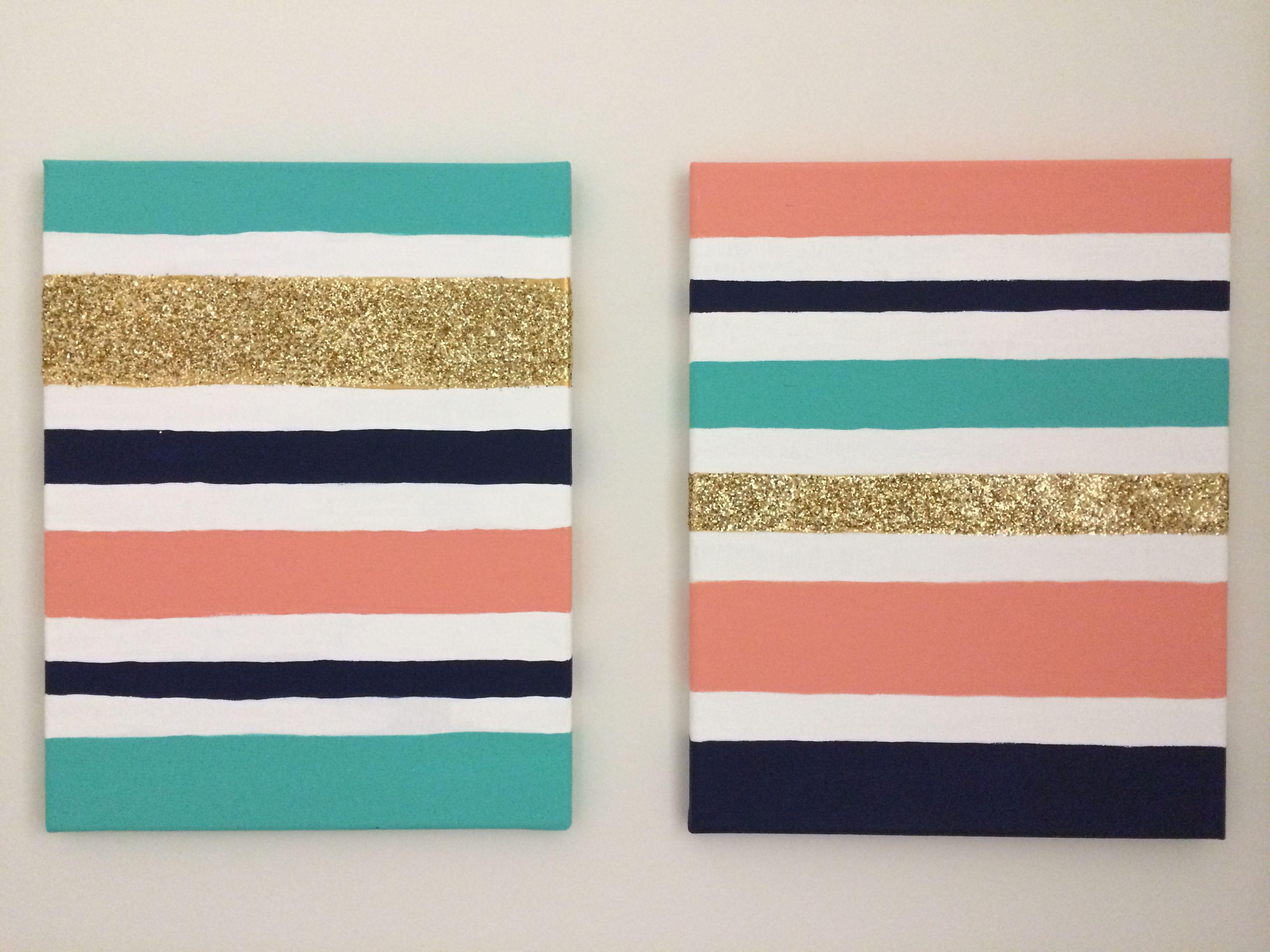 Diy stripes canvas glitter crafty pinterest canvas diy