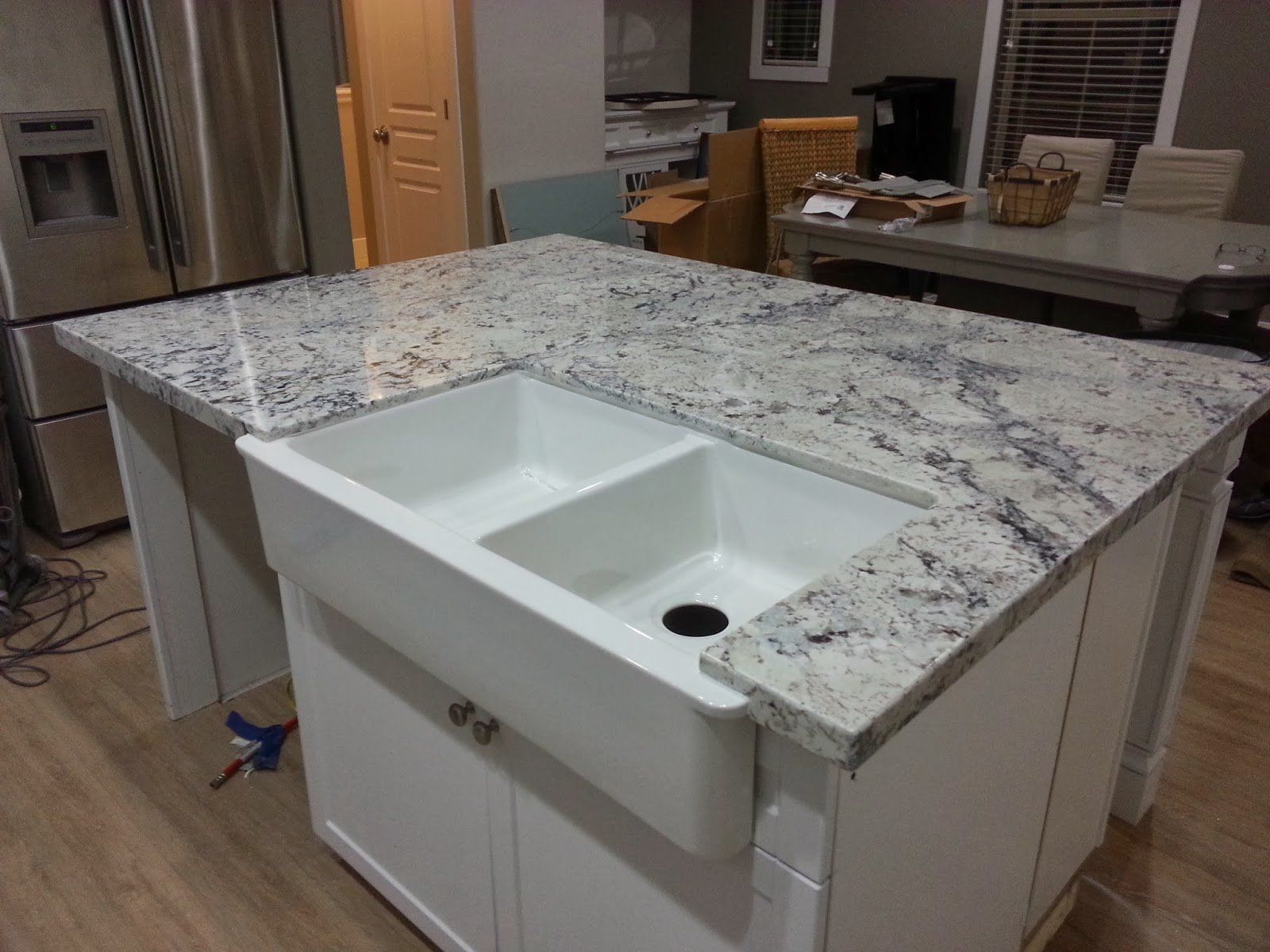 Beautiful Granite Countertops Pros And Cons Adorable Grey With Pencil Edges And  Countertop Tiles Labels S Interior White Double Sink Over Wooden Kitchen  Island On ...