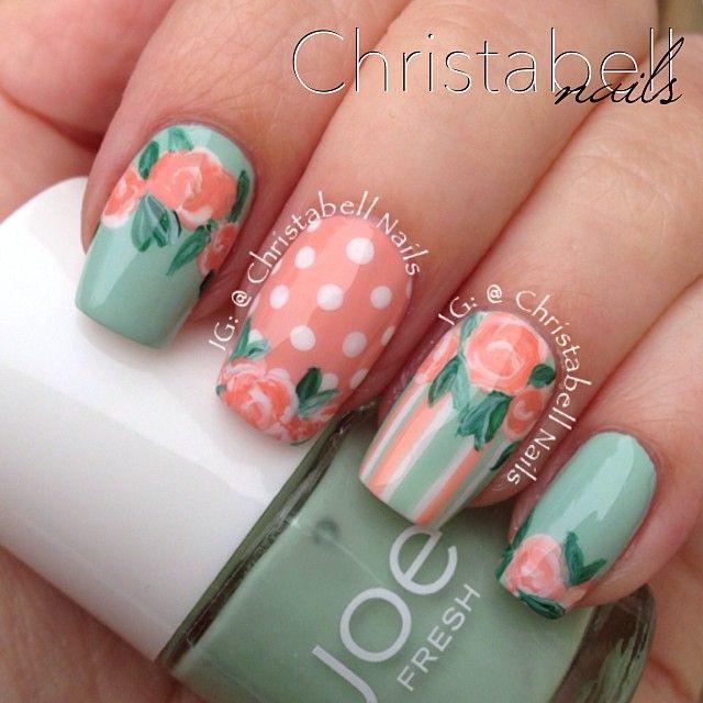 uñas naranja, verde menta, rayas, puntos, rosas vintage | Uñas ...