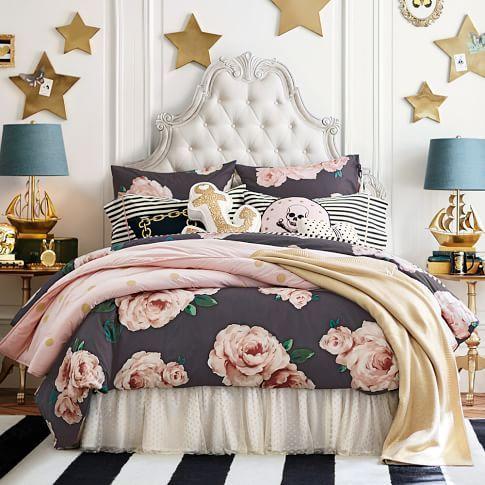 The Emily Amp Meritt Bed Of Roses Duvet Cover Sham Black Amp Blush Makuuhuoneen Suunnittelu Unelma