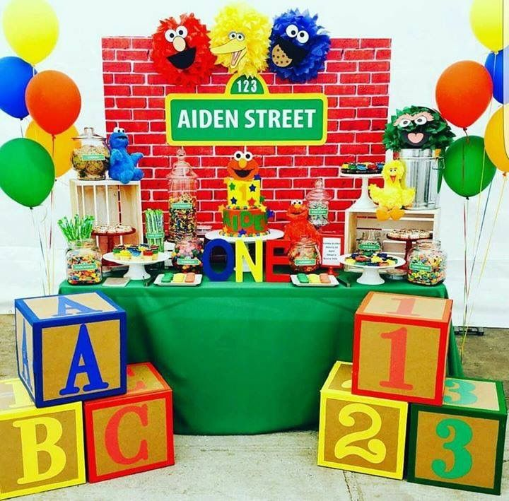 Main Table Decor Elmo Birthday Party Sesame Street Also Rh